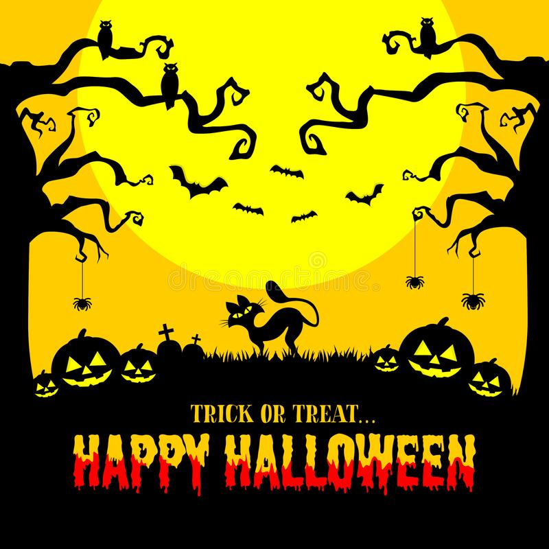夜色万圣节邀请卡 黑猫、猫头鹰、南瓜、蝙蝠、墓碑和蜘蛛 皇族释放例证