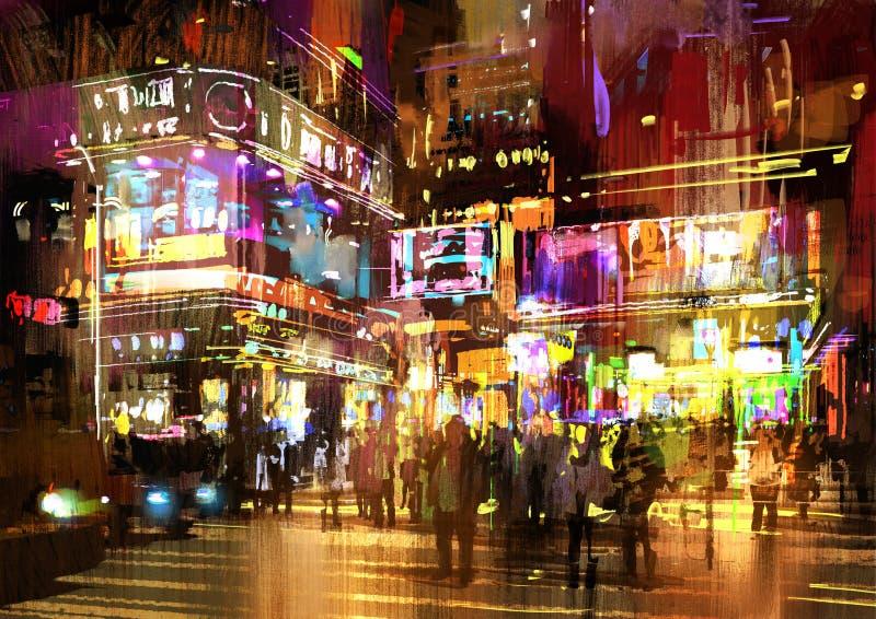 夜街道五颜六色的绘画,都市风景 库存图片