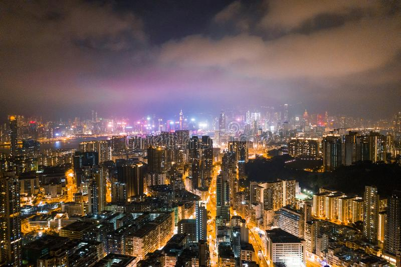 夜街道在九龙,香港 图库摄影