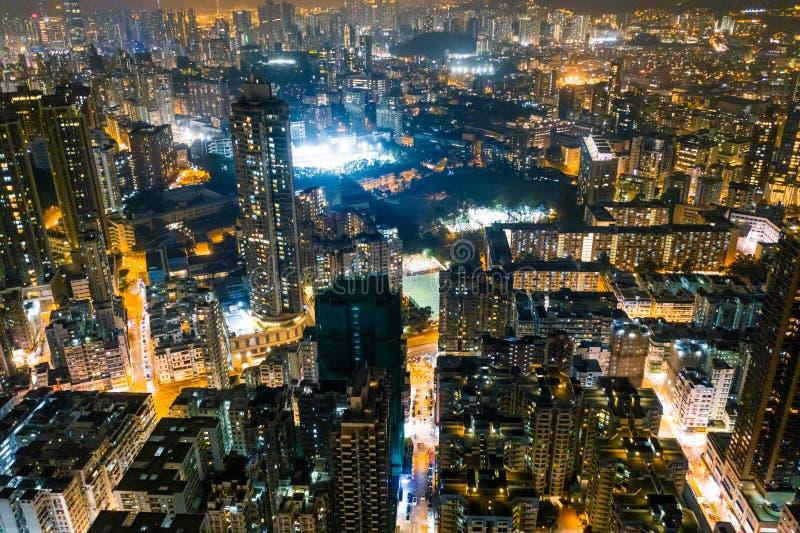 夜街道在九龙,香港 免版税图库摄影