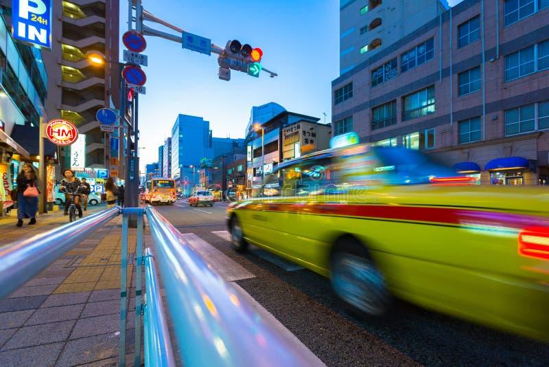 夜街道在福冈 免版税库存照片