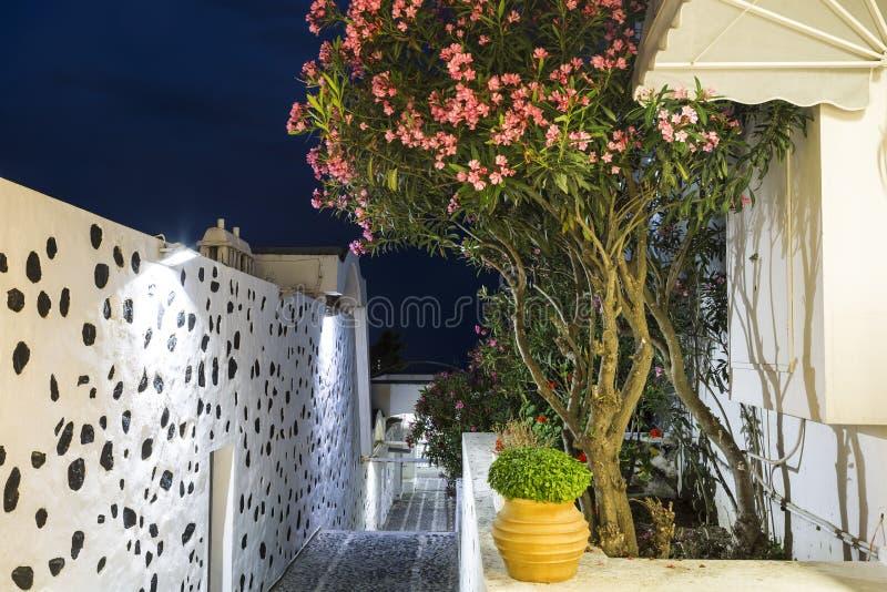 夜街道在Fira,圣托里尼海岛 库存照片