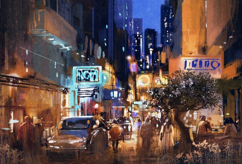 夜街道绘画,都市风景 库存图片