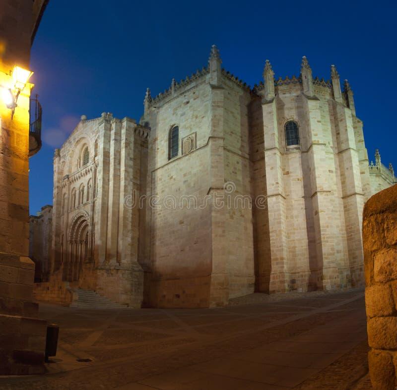 夜视图萨莫拉大教堂(西班牙) 免版税库存图片