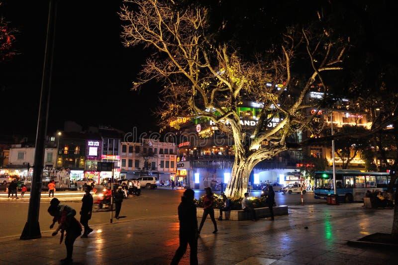 夜视图, Hoan金湖,中心河内 免版税图库摄影