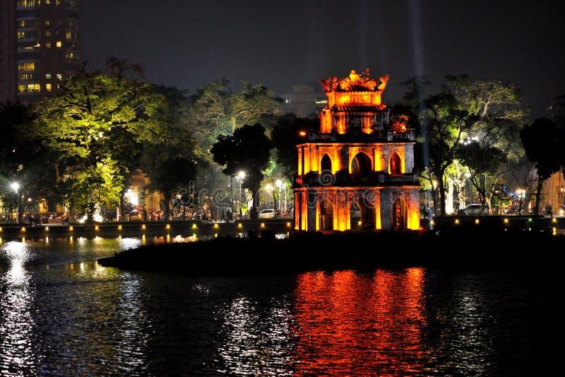 夜视图, Hoan金湖,河内 库存照片