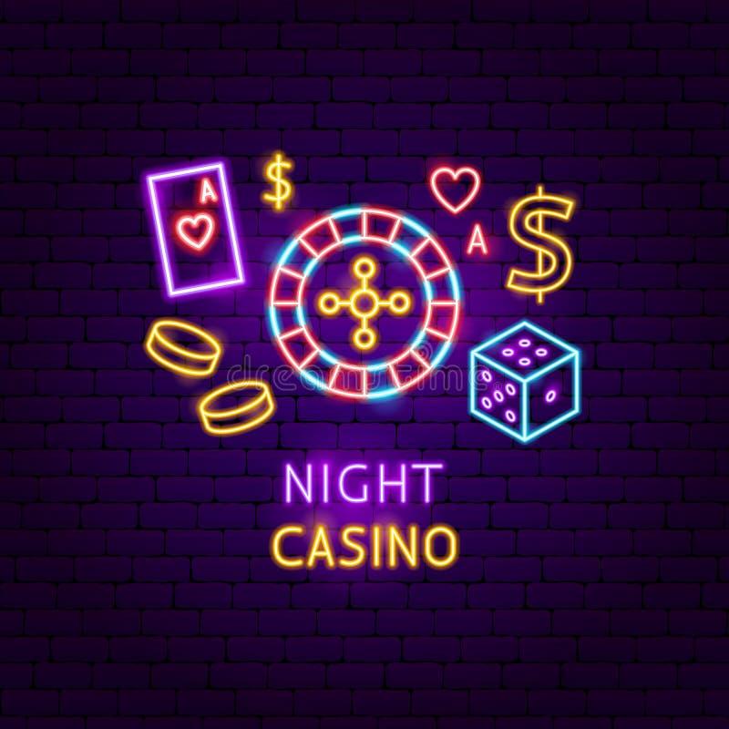 夜赌博娱乐场霓虹标签 皇族释放例证