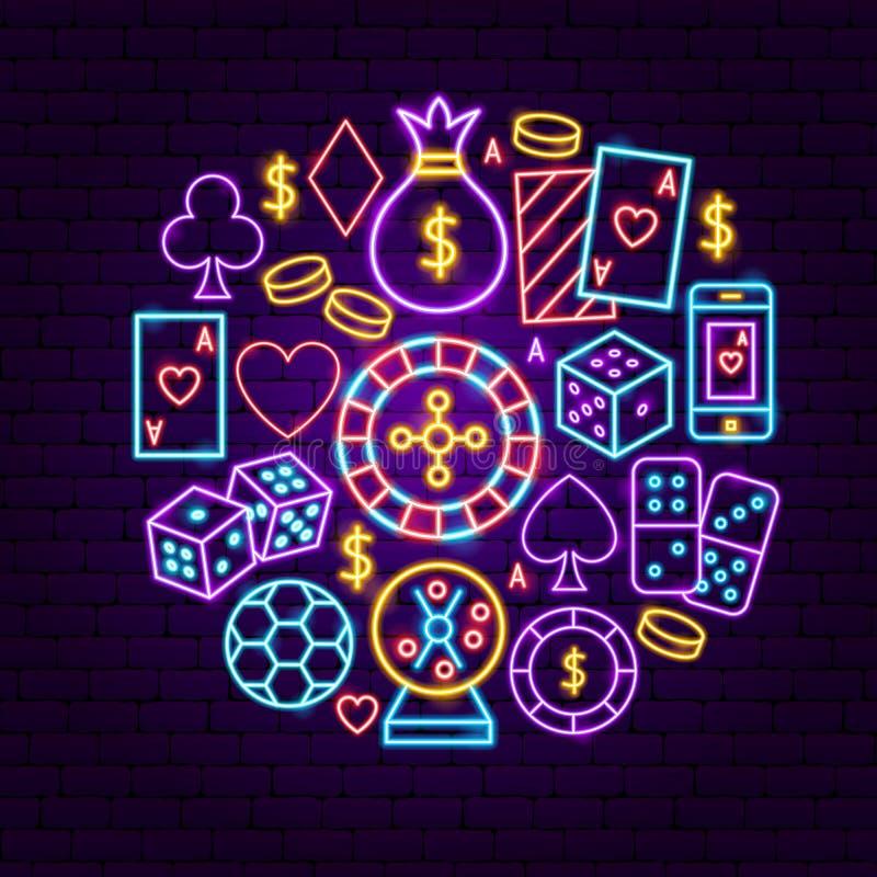 夜赌博娱乐场霓虹概念 库存例证