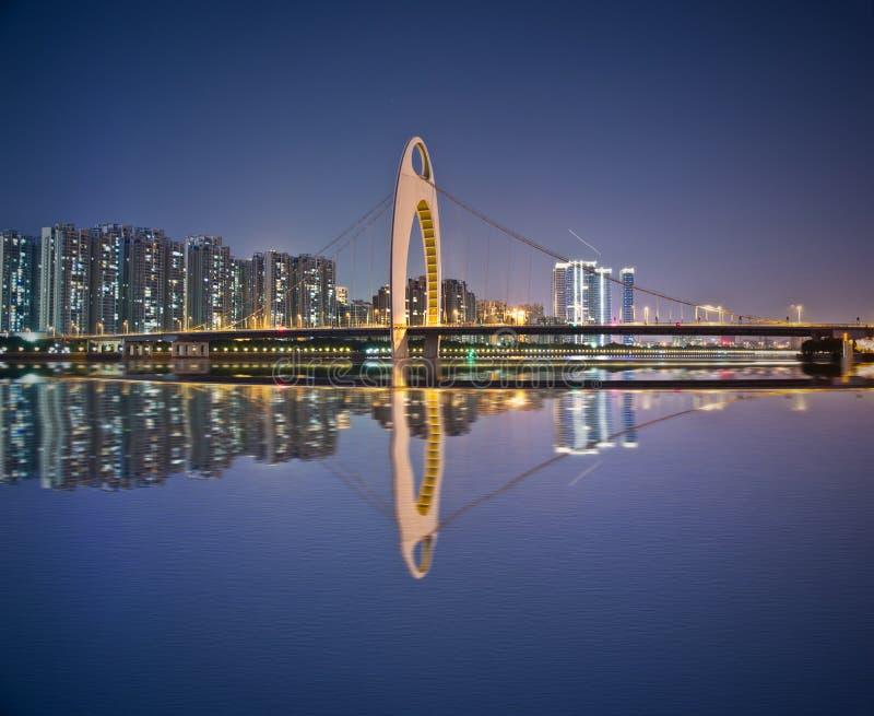 夜都市风景在广州 免版税库存图片