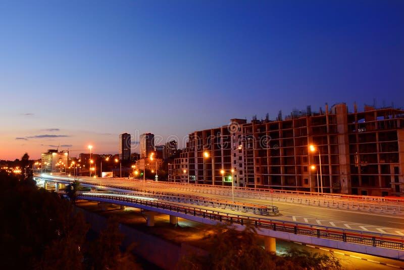 夜都市风景,霍尔 顿河畔罗斯托夫 俄国 免版税库存图片