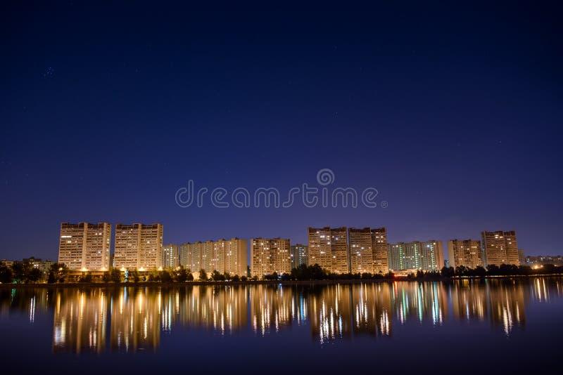 夜都市风景,霍尔 免版税图库摄影
