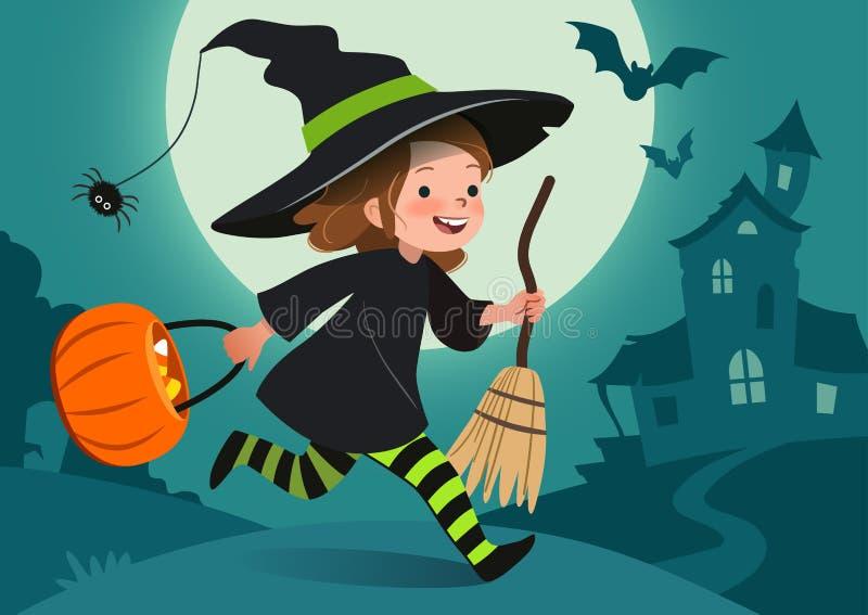 夜间万圣节场面例证 逗人喜爱的愉快的女孩打扮当与桶的巫婆奔跑糖果 满月, 皇族释放例证