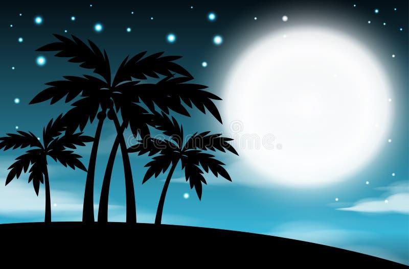 夜间与满月的天空背景和树、云彩和星 抽象分数维图象月光晚上 库存例证