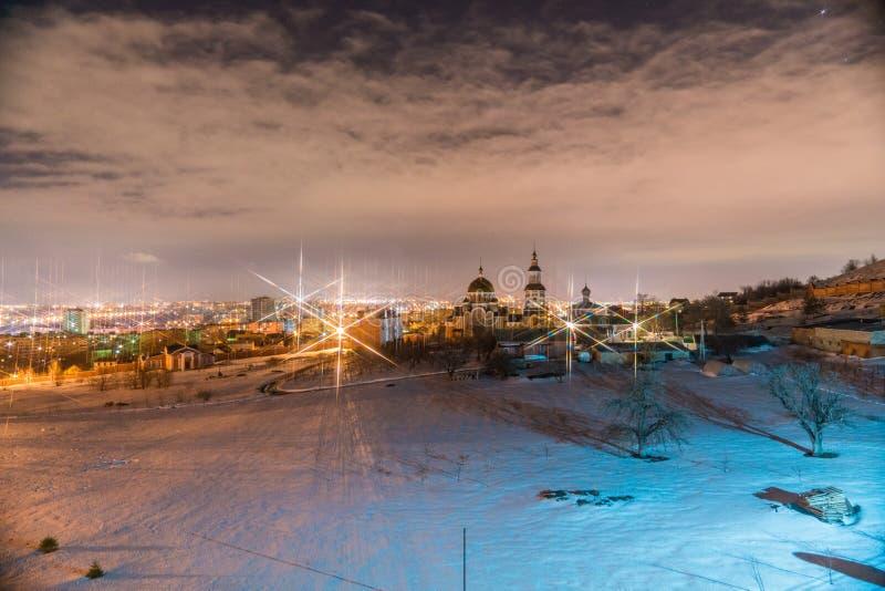 夜间俄国冬天 免版税库存照片