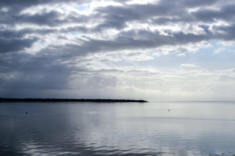 夜间在海边 在水上的黑暗的云彩 免版税库存照片