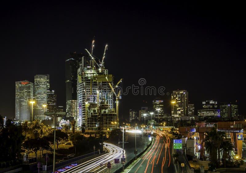夜间城市场面,街市特拉维夫 免版税库存照片