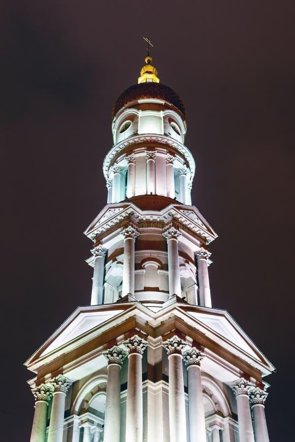 夜间灯火通明的大教堂 哈尔科夫,乌克兰 库存图片
