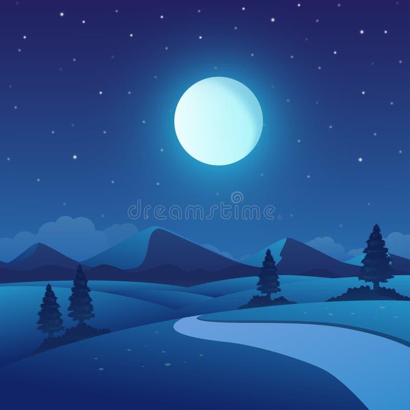 夜间自然风景的传染媒介例证 向量例证