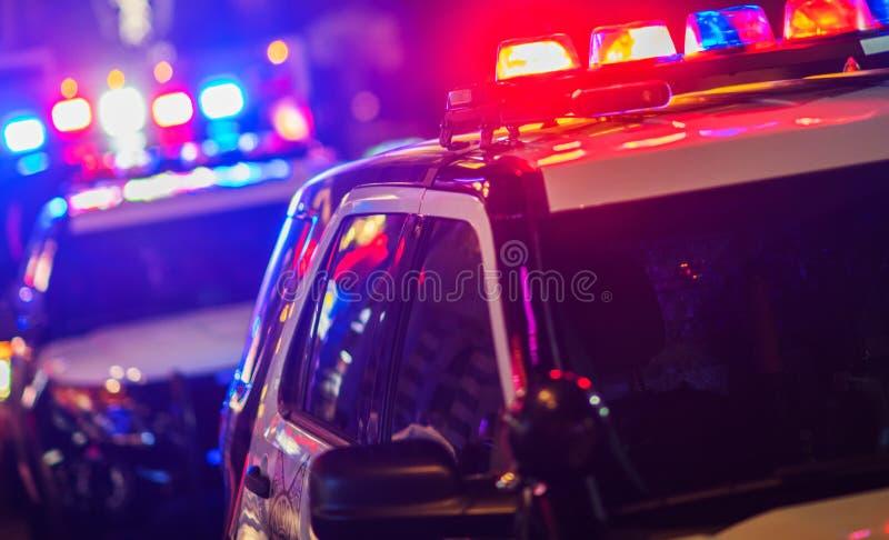 夜间警察干预 免版税库存照片