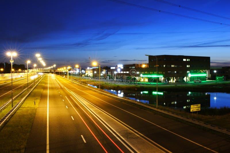 夜间高速公路风景 库存照片