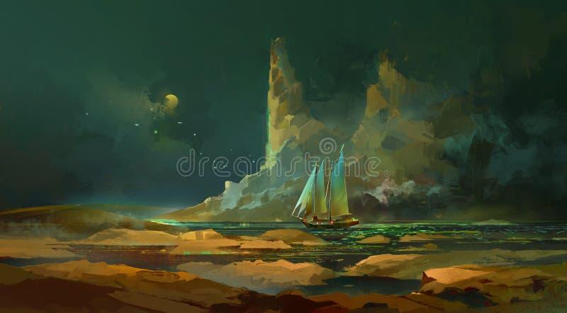 夜风景和帆船艺术 向量例证
