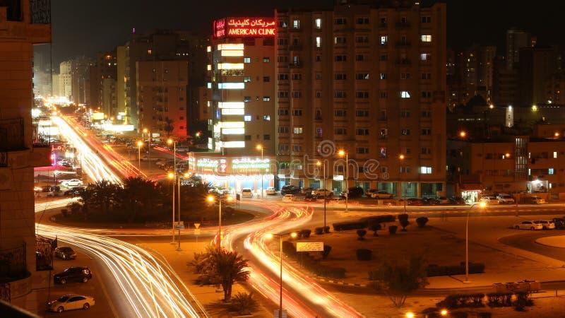 夜风景:环形交通枢纽 库存图片