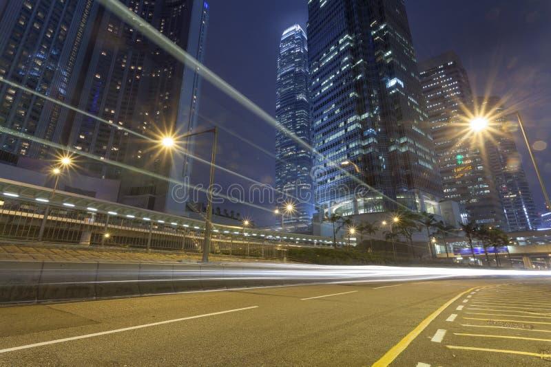夜,城市大厦在香港 图库摄影