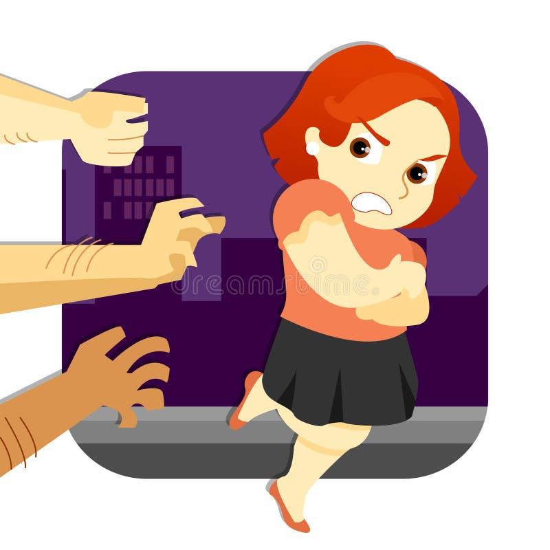 妇女逃脱的攻击 皇族释放例证