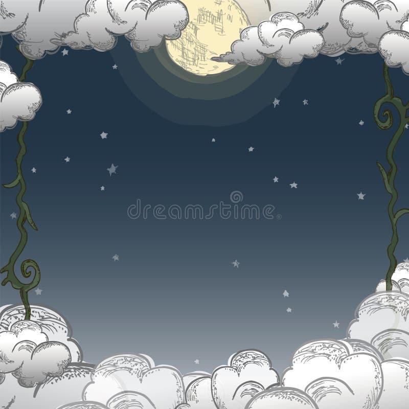 夜间天气框架模板  皇族释放例证