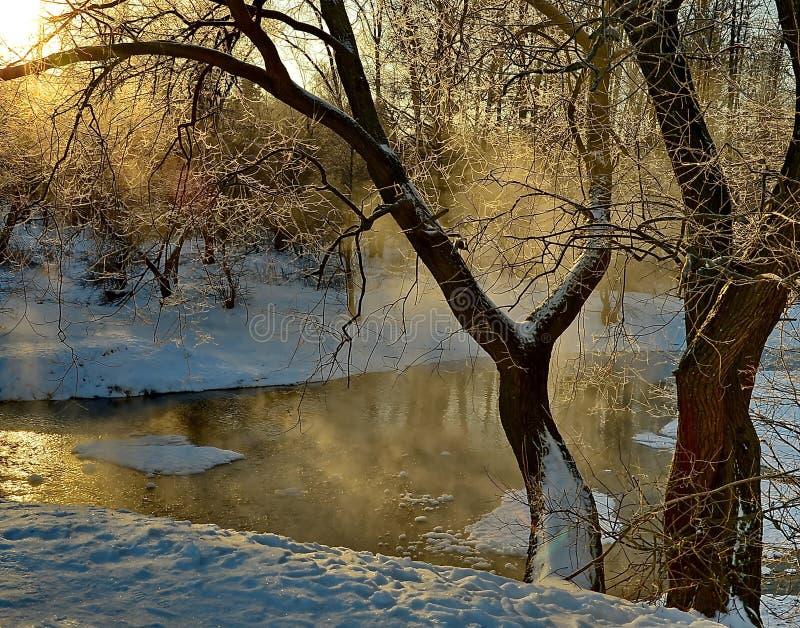 夜间山s日落ural冬天 库存图片