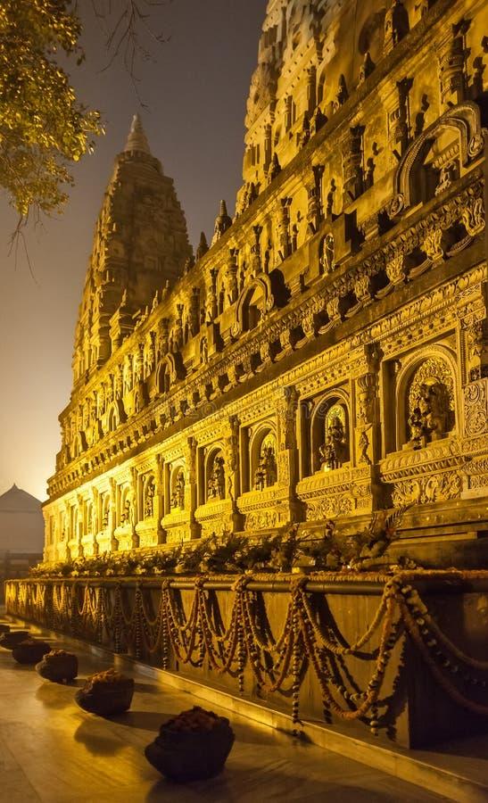 夜间照明设备的摩诃菩提寺 免版税库存照片