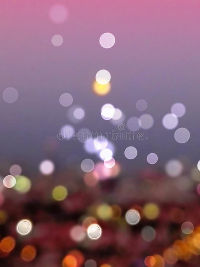 夜bokeh背景和墙纸,被弄脏的闪烁葡萄酒光摘要  免版税库存图片