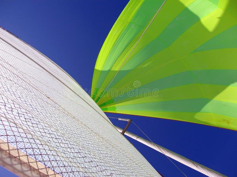 大三角帆、主要风帆和蓝天 库存图片