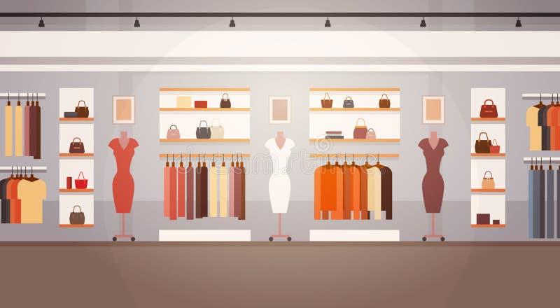 大与拷贝空间的时尚商店超级市场女性服装店购物中心内部横幅 向量例证