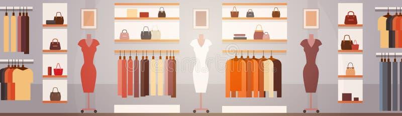 大与拷贝空间的时尚商店超级市场女性服装店购物中心内部横幅 库存例证