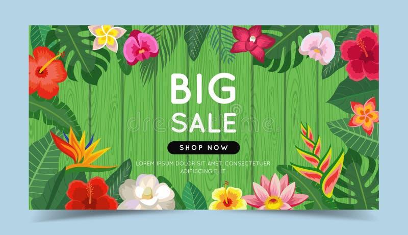大与热带花的销售五颜六色的横幅和叶子和木背景 圆框架 r 向量例证