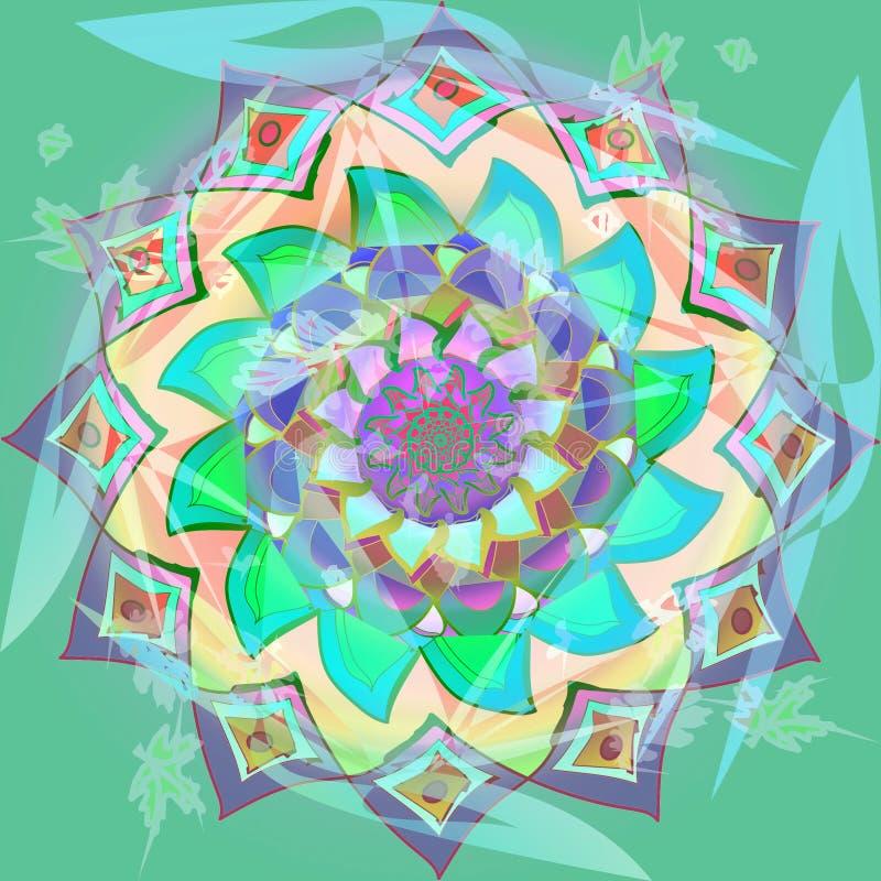 大丽花在淡色的花坛场,紫色,绿松石,蓝绿色,绿色,桃红色,与透明度的装饰图象 免版税图库摄影