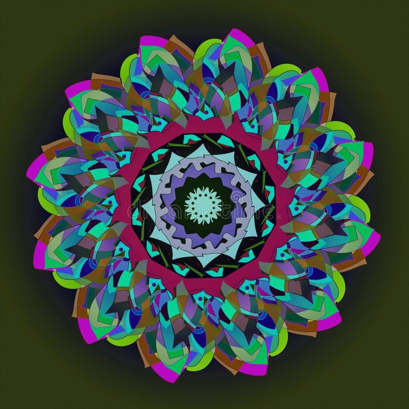 大丽花坛场花 在倒挂金钟,绿松石,蓝色,绿色,伯根地的简单的黑背景葡萄酒样式花,紫色和黑 皇族释放例证