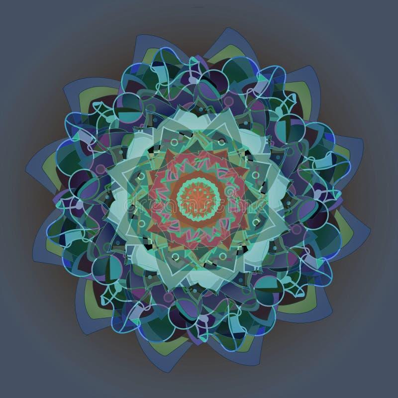 大丽花花卉坛场 装饰圆的样式 摘要欢乐五颜六色的坛场 向量例证