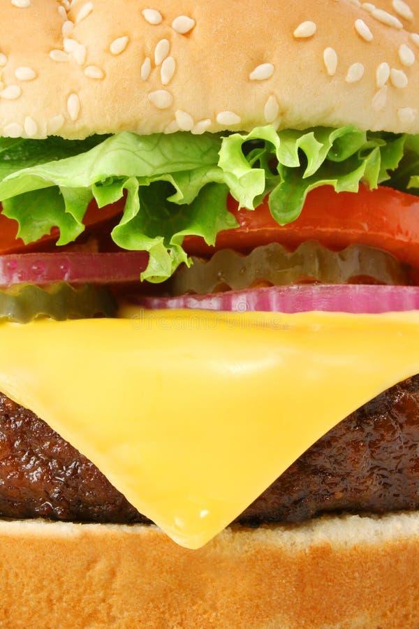 大乳酪汉堡特写镜头汉堡包宏指令 库存照片