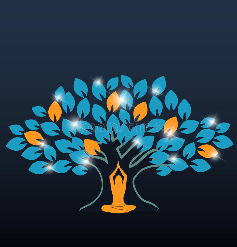 大五颜六色的树和瑜伽 向量例证