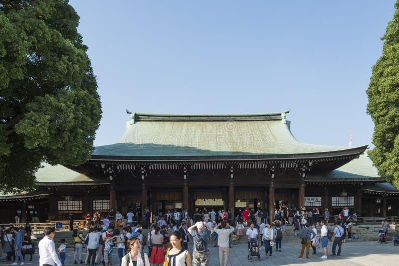 大人群在明治神宫,涩谷,东京,日本 免版税库存图片