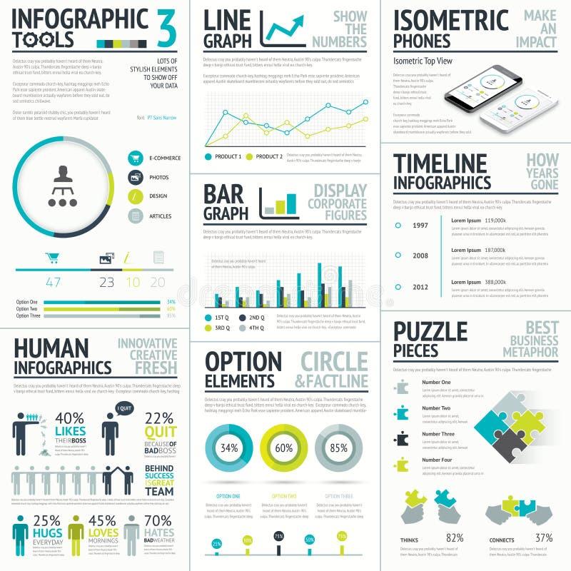 大企业和人的传染媒介infographic的元素