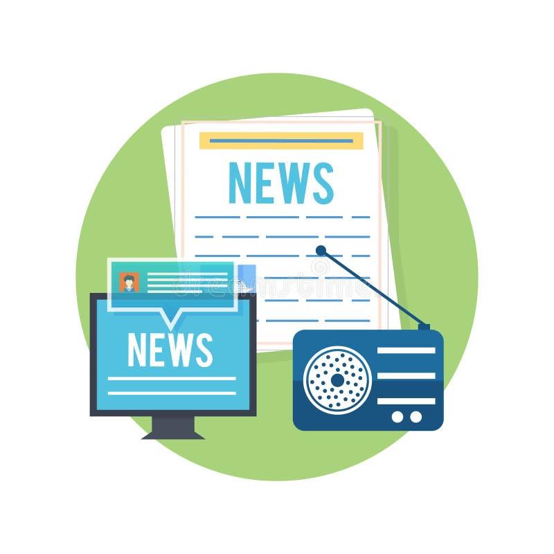 大众传播媒体概念新闻收音机报纸 皇族释放例证