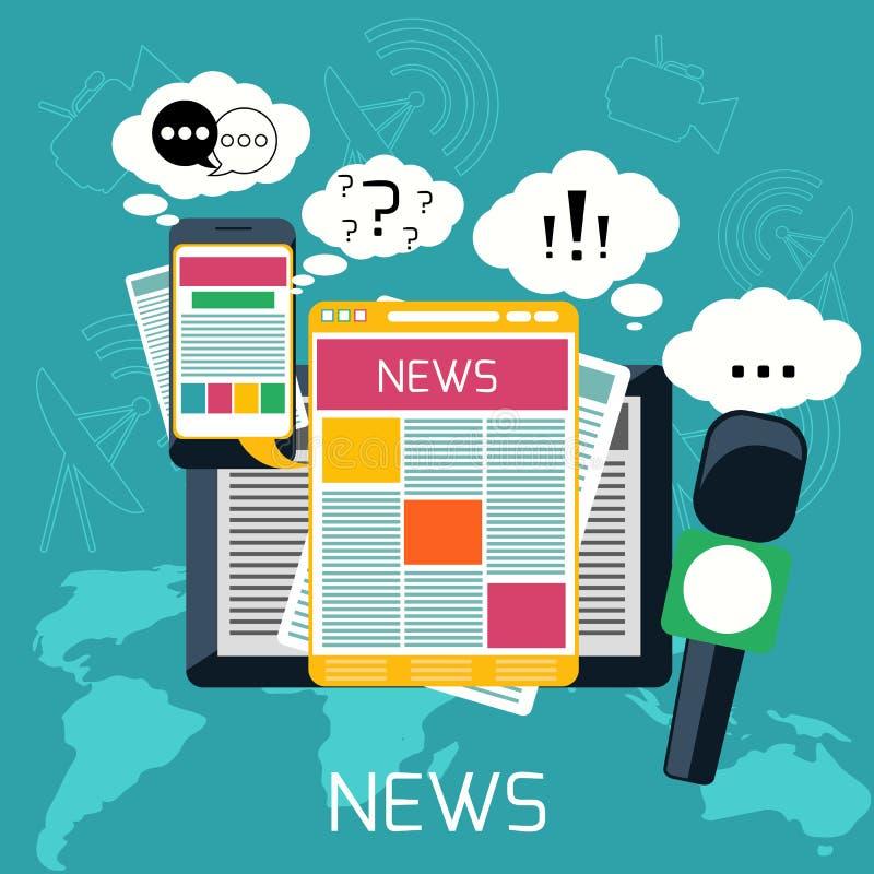 大众传播媒体概念新闻收音机报纸 库存例证