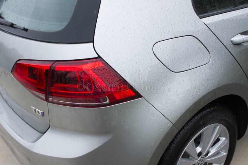 大众放射丑闻的影响的高尔夫球TDI 2015年汽车 免版税库存图片