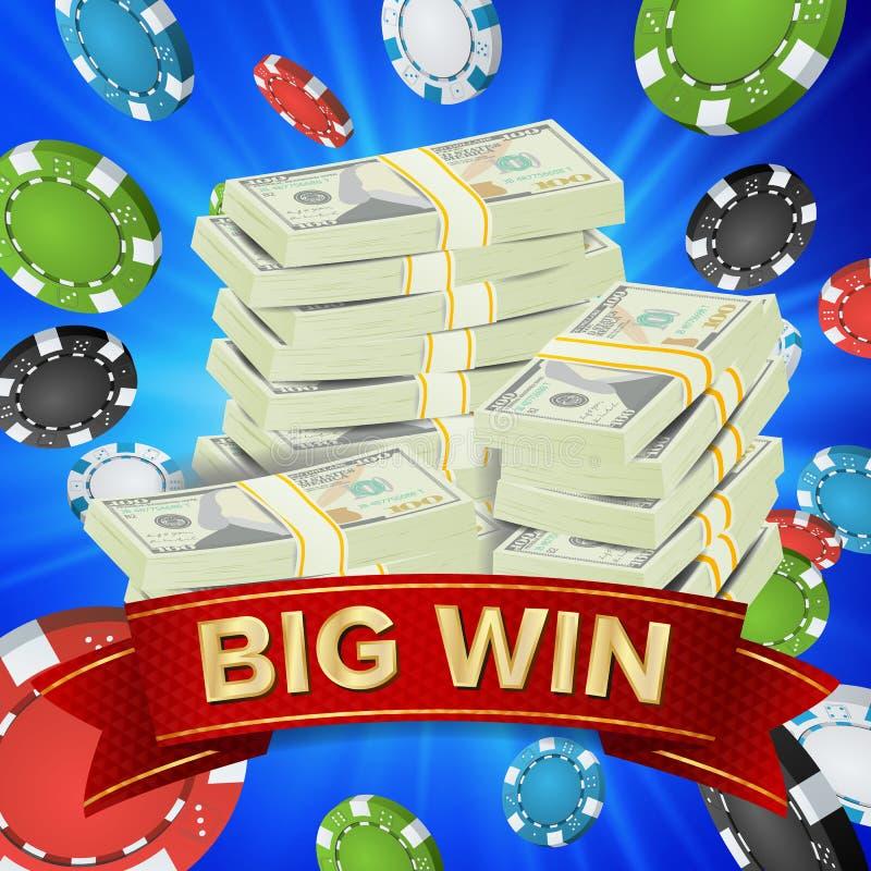 大优胜者海报传染媒介 您赢取 赌博的纸牌筹码 美元金钱钞票堆例证 向量例证