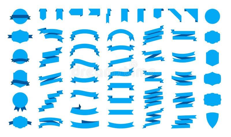 大传染媒介丝带横幅集合 在白色背景隔绝的平的丝带例证 丝带汇集 向量例证