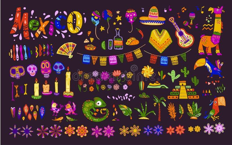 大传染媒介套在黑暗的背景&动物在平的手拉的样式隔绝的墨西哥元素、标志 向量例证
