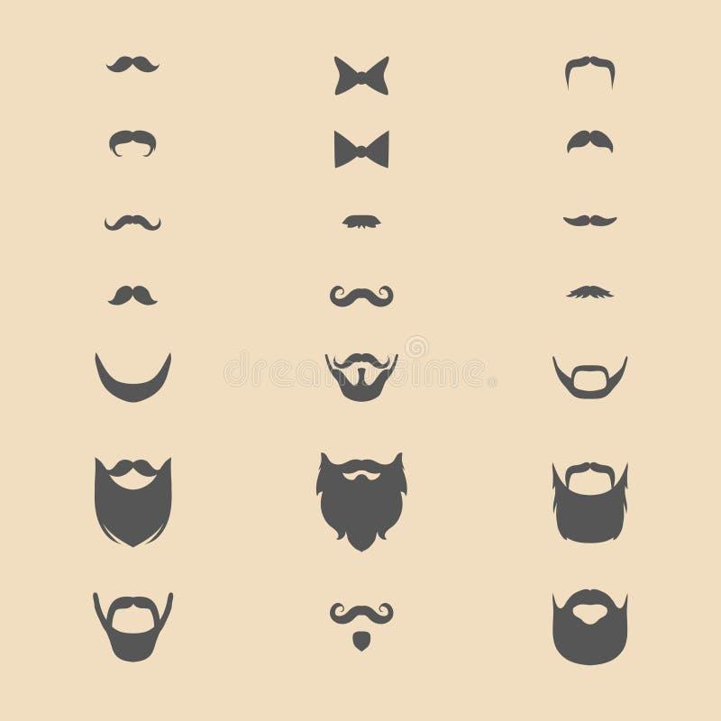 大传染媒介套不同的人刮胡须,髭,在时髦平的样式的弓 库存例证